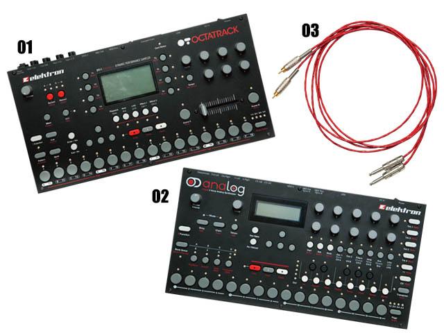 """01 スウェーデンのメーカーElektronのサンプラー""""OCTATRACK""""。 02 同じくElektronのアナログシンセ""""analog4""""。 03 オーダーメイドのコード。MJのスタジオで使用されているのと同じもの。すべて最近購入"""