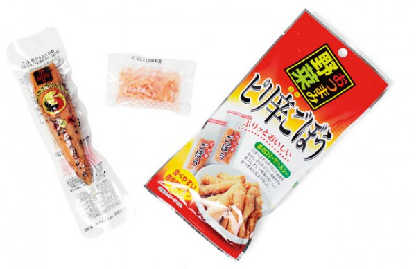 右から 壮関 おつまみ野菜  ピリ辛ごぼう/紅ショウガ/雲海物産   鶏のささみくんせい