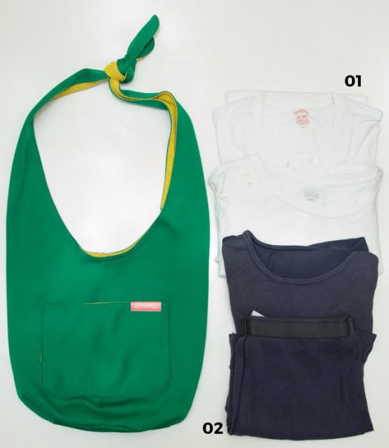 伊賀大介× Dairy Freshの ショルダーバッグ SUB BAG & ITEMS 01 Tシャツは無地の白のみ。BROOKS BROTHERSのパックTが最近のお気に入り。  02 部屋着用のサーマル上下