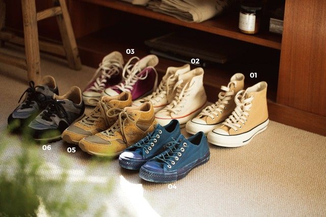 01  CONVERSE ADDICT  CHUCK TAYLOR HI(本人私物) 02, 03  CONVERSE ALL STAR® HI【USED】(ともに本人私物) 04  MILITARY TRAINING SHOES【USED】 (本人私物) 05  nonnative × New Balance MNL710 (本人私物) 06  SPALWART Marathon Trail(本人私物)