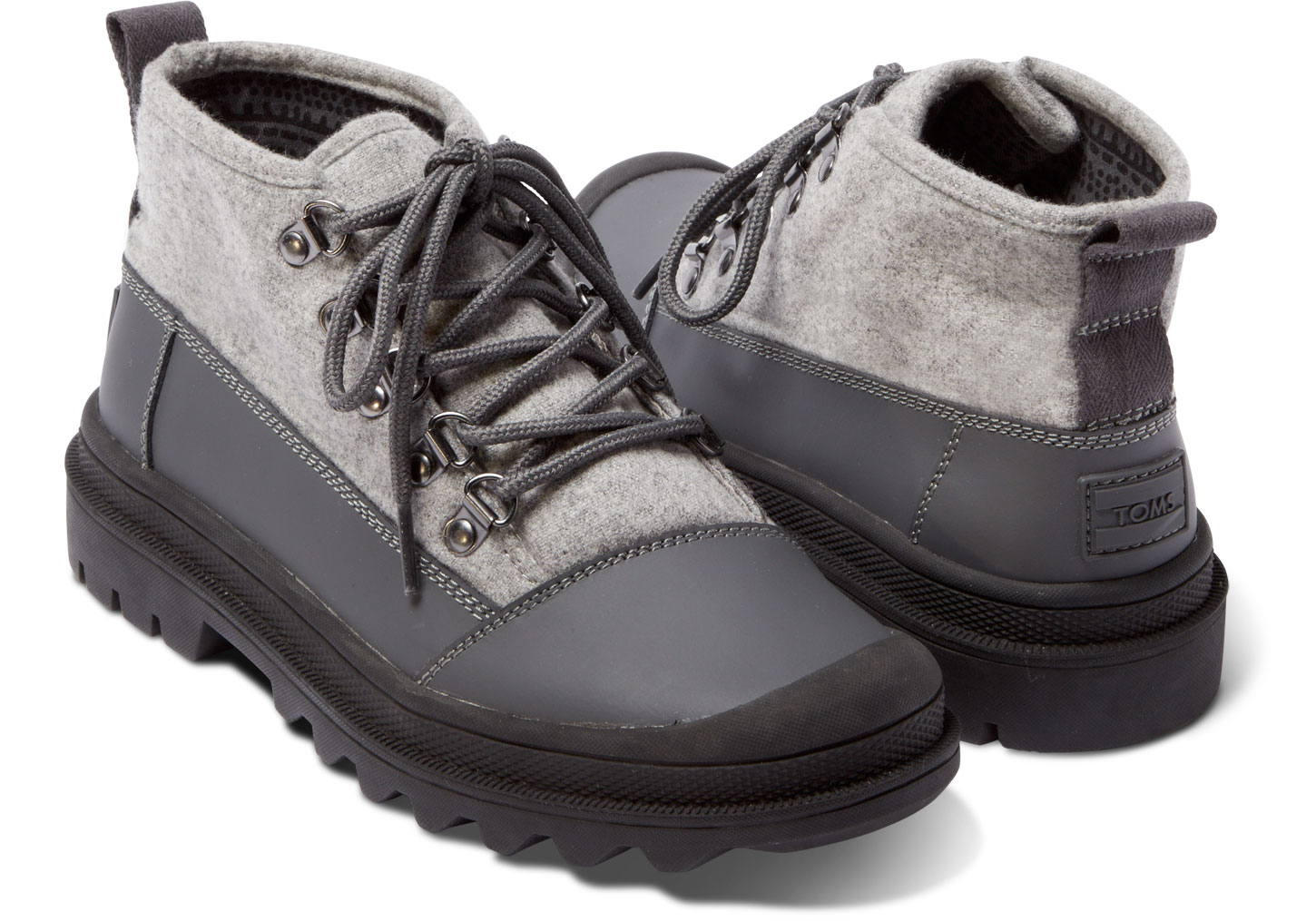 TOMS CASTLERROCK GREY ON LIGHT GREY WOOL MENS CORDOVA BOOTS