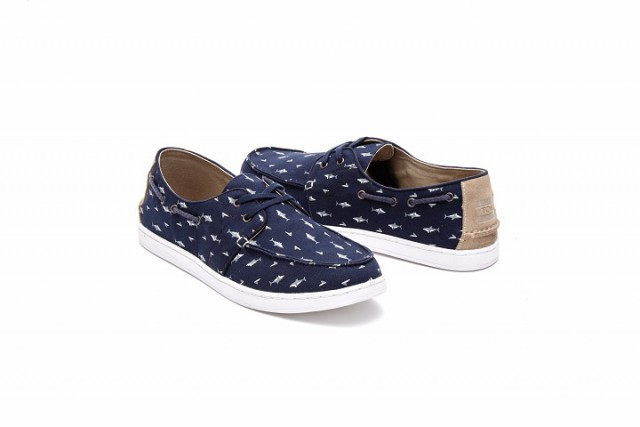 TOMS Shark Printed Canvas Mens Culver Side