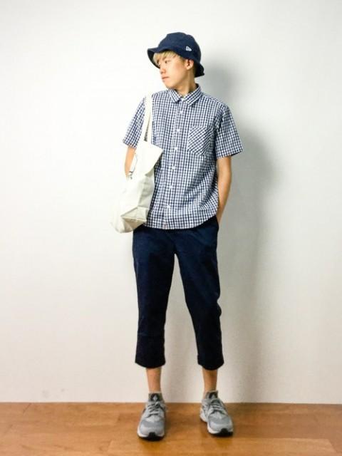メンズファッション 半袖チェックシャツコーディネート/ギンガムチェック