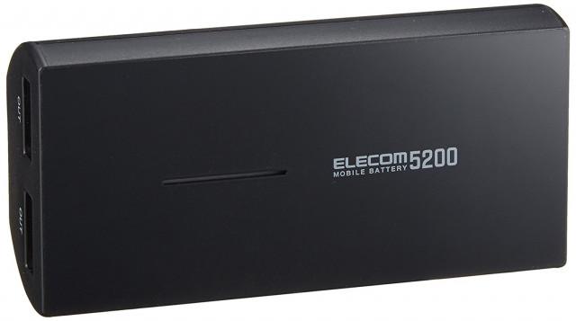 エレコム モバイルバッテリー DE M01L 5230C 5,200mAh