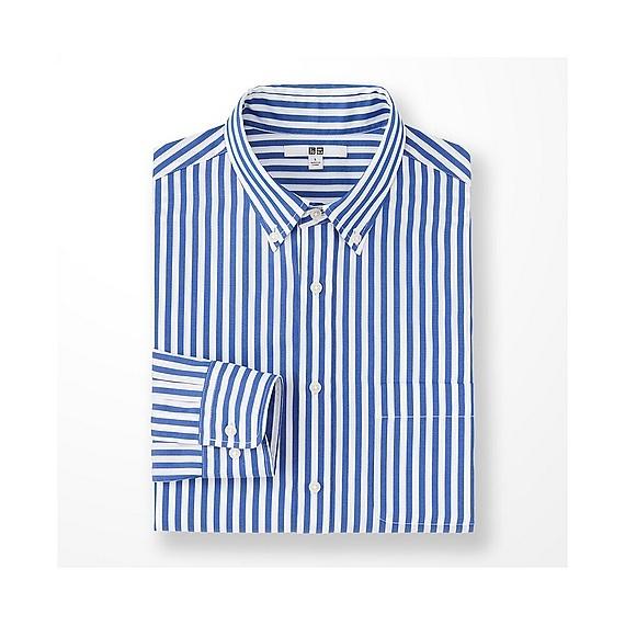 メンズファッション2016秋ストリート・カジュアル系ストライプシャツ、UNIQLOのエクストラファインコットンブロードストライプシャツ