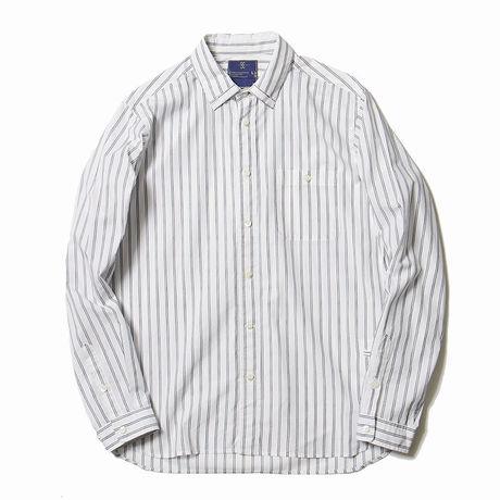 メンズファッション2016秋ストリート・カジュアル系ストライプシャツ、meanswhileのArgane Oil Cotton Stripe Loop Down SH