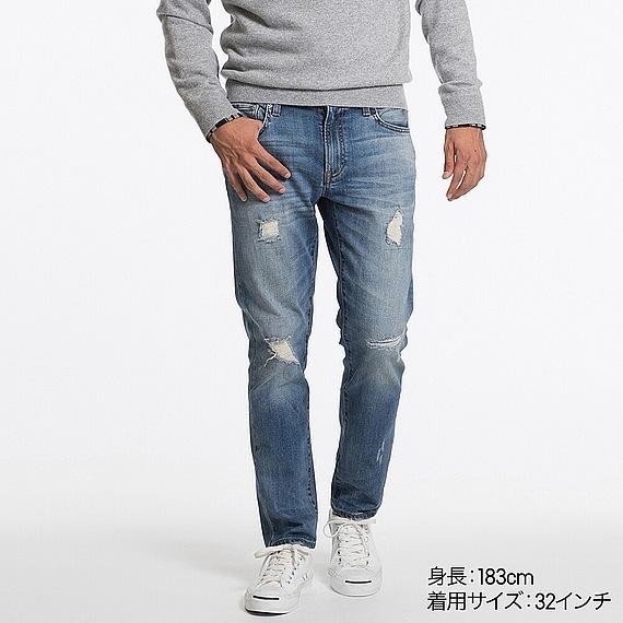 ダメージデニムのメンズファッション冬 おすすめブランド:UNIQLO(ユニクロ)