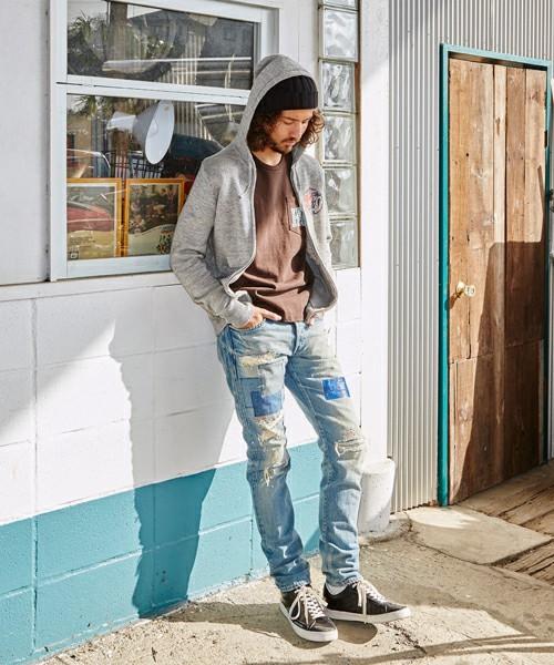ダメージデニムのメンズファッション冬 おすすめストリート