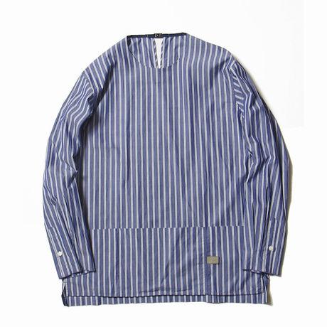 メンズファッション2016秋ストリート・カジュアル系ストライプシャツ、meanswhileのArgane Oil Cotton Stripe Pullover SH