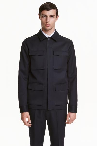 カバーオールのメンズファッション冬 おすすめブランド:H&M(エイチアンドエム) ウールブレンド ユーティリティジャケット